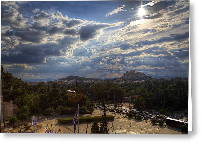 Greeting Card featuring the photograph Acropolis From The Kallimarmaro by Micah Goff