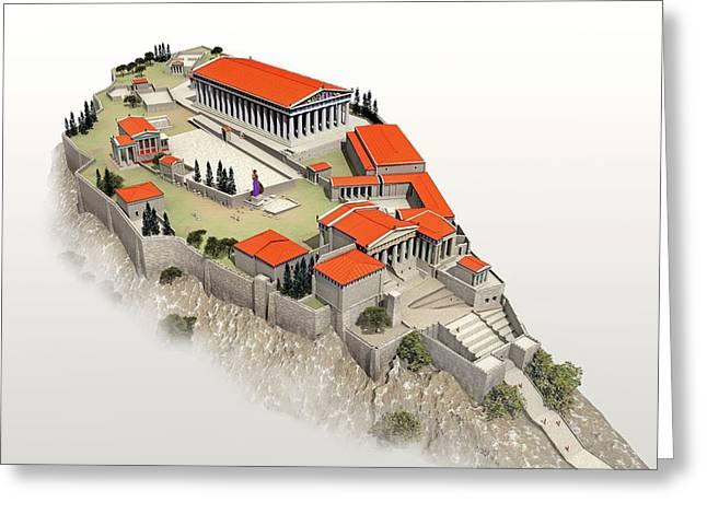 Acropolis Greeting Card by Jose Antonio Pe�as
