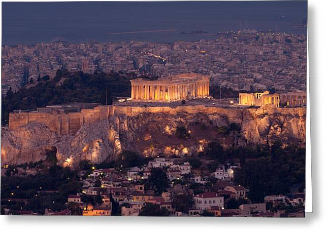 Acropolis Of Athens, Athens, Attica Greeting Card by Panoramic Images