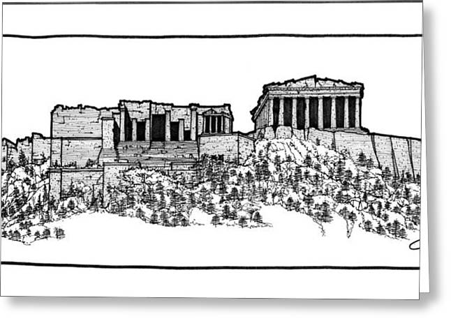 Greeting Card featuring the drawing Acropolis Of Athens by Calvin Durham