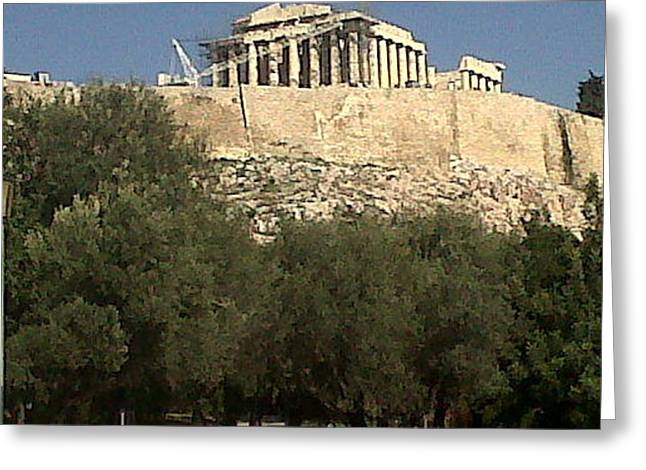 Acropolis View Greeting Card by Andreea Alecu