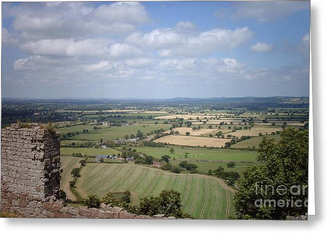 Across Cheshire From Beeston Castle England Greeting Card