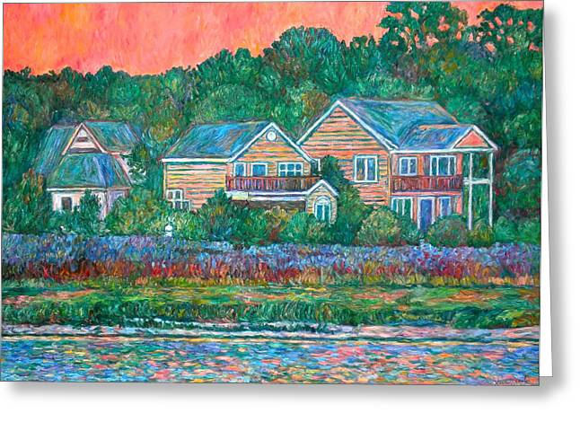 Greeting Card featuring the painting Across The Marsh At Pawleys Island       by Kendall Kessler
