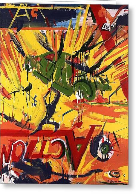 Action Abstraction No. 1 Greeting Card by David Leblanc