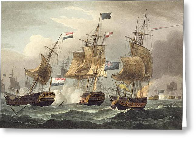 Action Off Camperdown Greeting Card by Thomas Whitcombe