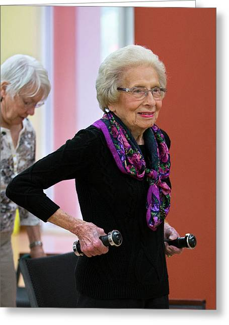 Active Elderly Lady Exercising Greeting Card