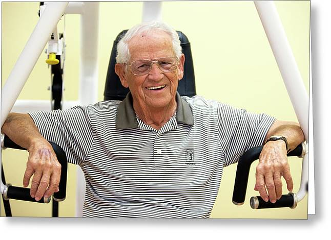 Active Elderly Man Smiling In Gym Greeting Card