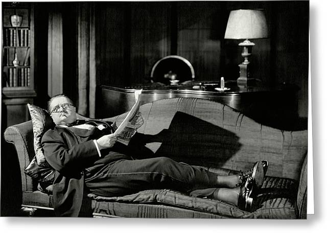 Actor Alexander Woollcott On A Couch Greeting Card by Nick Lazarnick