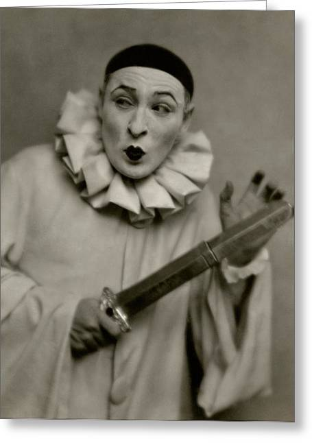 Actor Lionel Atwill In A Pierrot Costume Greeting Card by Nicholas Muray