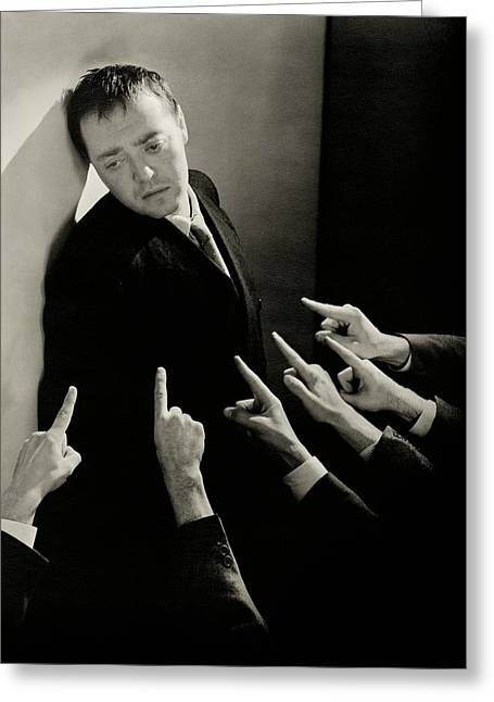 Actor Peter Lorre Posing Against A Wall Greeting Card by Lusha Nelson