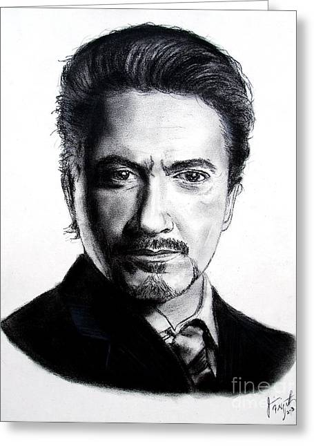 Actor Robert Downey Jr Greeting Card by Jim Fitzpatrick