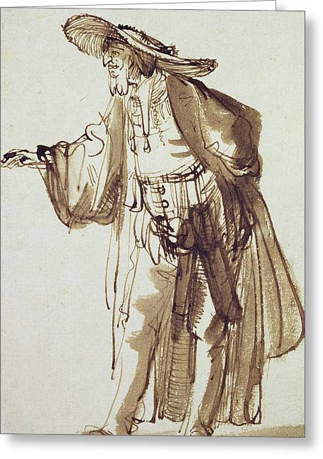 Actor With A Broad-rimmed Hat Greeting Card by Rembrandt Harmensz van Rijn