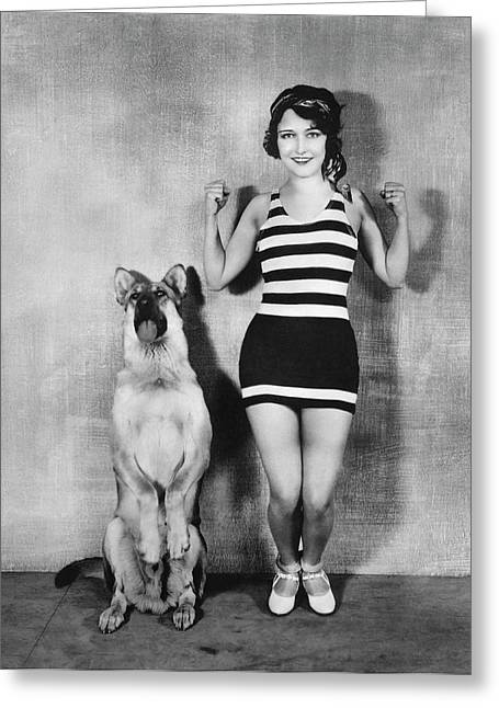 Actress And Dog Exercise Greeting Card