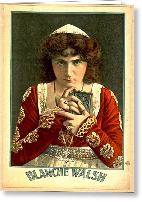Actress Blanche Walsh 1899 Greeting Card by Padre Art