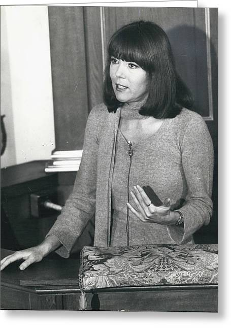 Actress Dina Rigg In Lunch Hour Dialogue At St. Mary-le-bow Greeting Card by Retro Images Archive