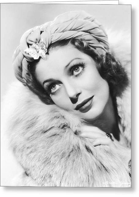 Actress Loretta Young Greeting Card by Underwood Archives