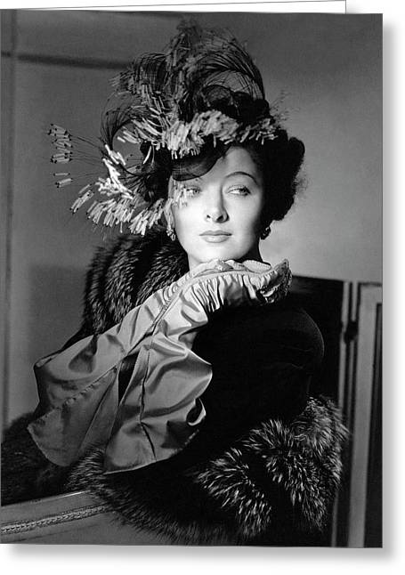 Actress Myrna Loy Greeting Card by Horst P. Horst