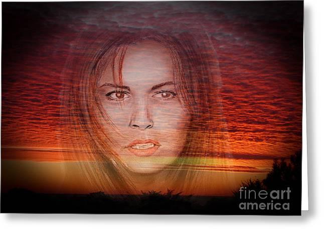 Actress Raquel Welch In Hannie Caulder Sunset Version Greeting Card by Jim Fitzpatrick
