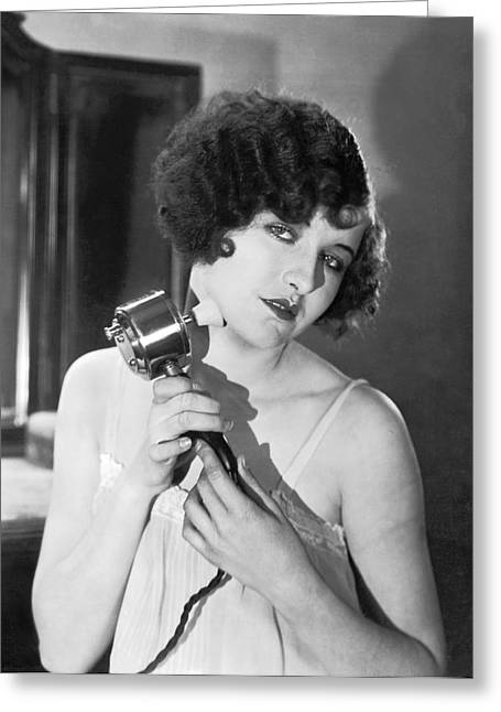 Actress Using Massage Device Greeting Card by Underwood Archives