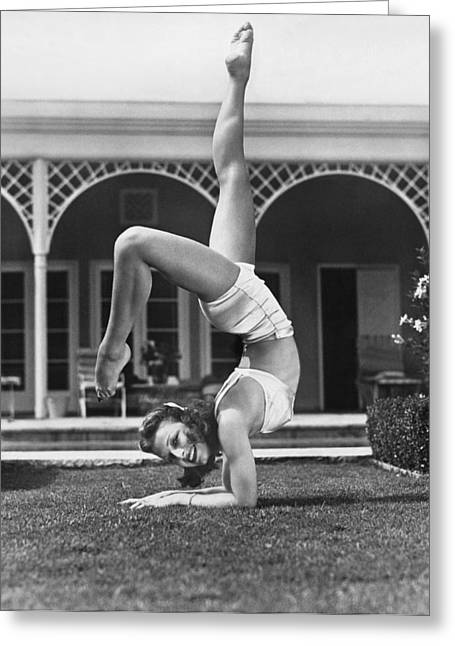 Actress Vera Zorina Exercising Greeting Card by Underwood Archives