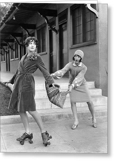 Actresses On Roller Skates Greeting Card by Underwood Archives