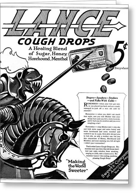 Ad Cough Drops, 1919 Greeting Card by Granger