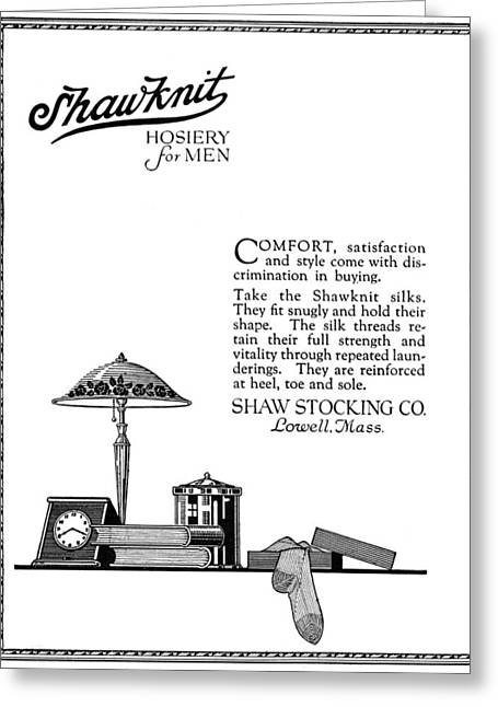 Ad Hosiery For Men, 1919 Greeting Card