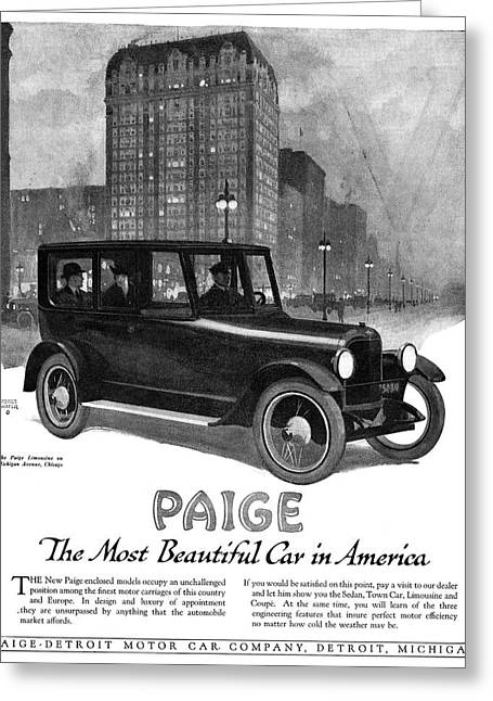 Ad Paige Automobile, 1918 Greeting Card by Granger