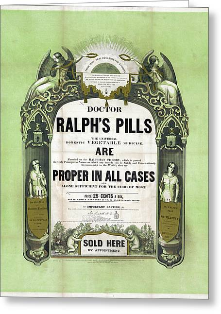 Ad Patent Medicine, 1849 Greeting Card