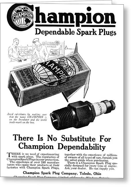 Ad Spark Plugs, 1919 Greeting Card by Granger