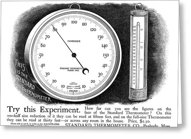 Ad Thermometer, 1890 Greeting Card by Granger