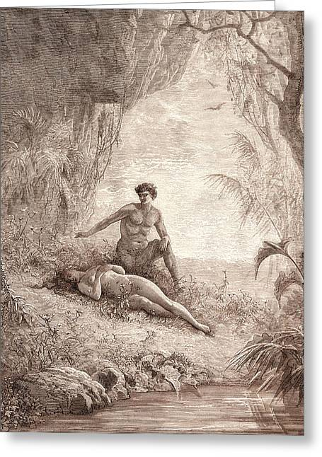 Adam And Eve, By Gustave DorÉ. Dore, 1832 - 1883 Greeting Card