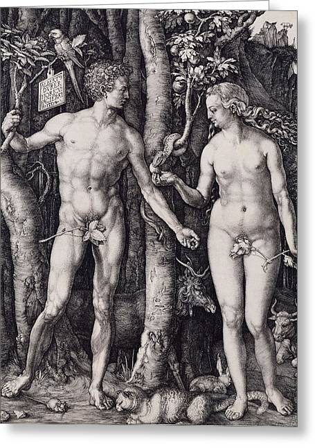Adam And Eve Engraving Greeting Card by Albrecht Durer