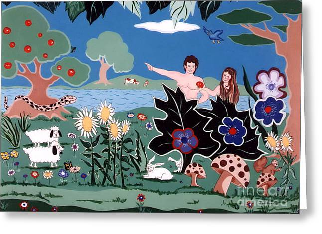 Adam And Eve Greeting Card by Joyce Gebauer