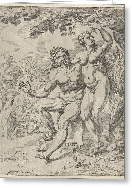 Adam And Eve Picking The Forbidden Fruit Greeting Card