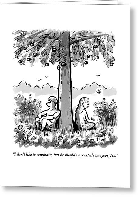 Adam And Eve Sit Back To Back Against A Tree Greeting Card