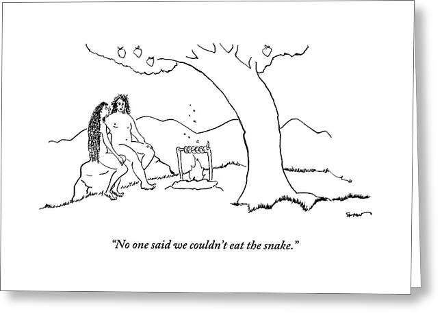 Adam And Eve Sit Under The Forbidden Tree Greeting Card