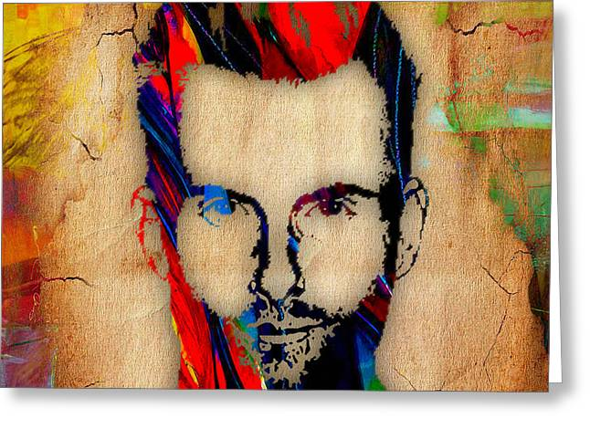 Adam Levine Maroon 5 Painting Greeting Card by Marvin Blaine