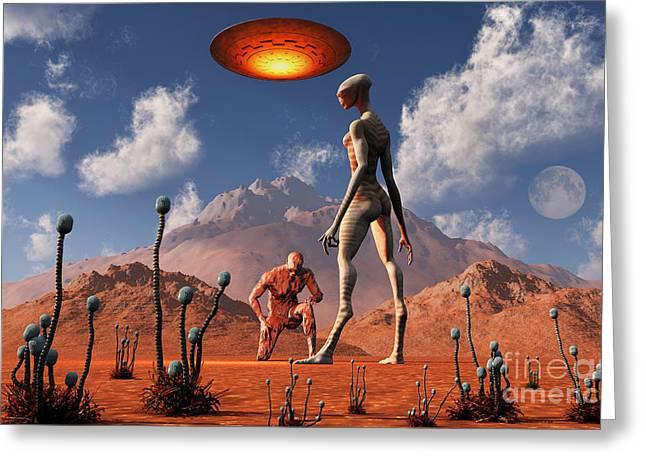 Adam Meeting An Alien Reptoid Being Greeting Card by Mark Stevenson