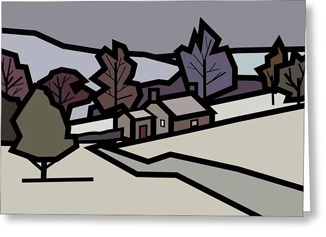Adam's Farm In Winter Greeting Card by Kenneth North