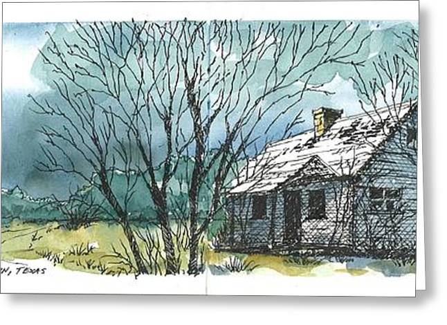Greeting Card featuring the mixed media Adams Ranch Headquarters King County Texas by Tim Oliver