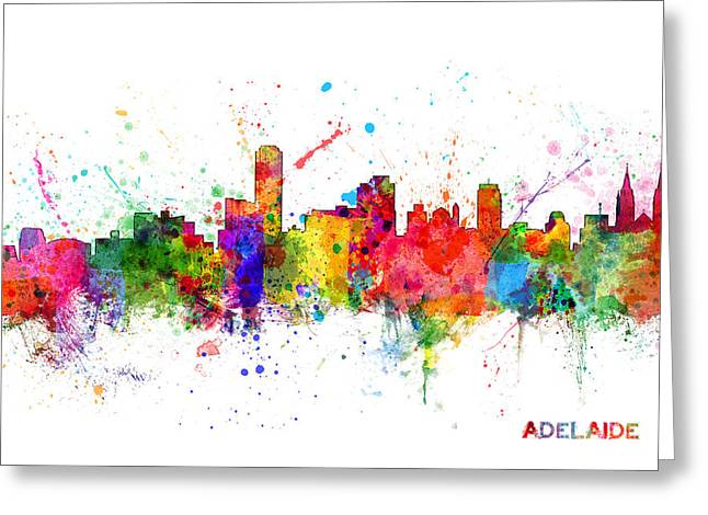 Adelaide Australia Skyline Greeting Card by Michael Tompsett