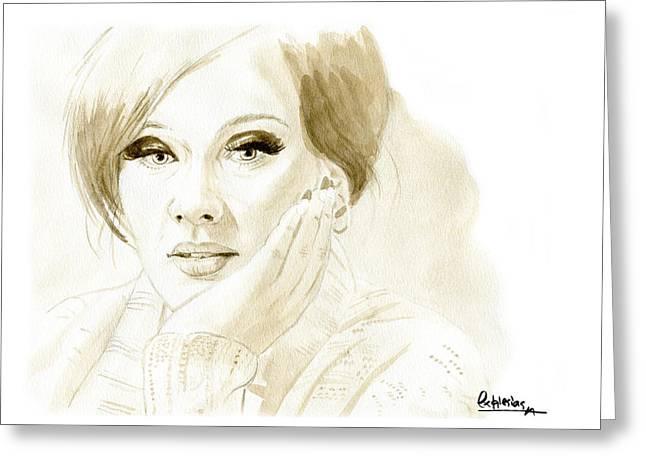 Adele Greeting Card by David Iglesias