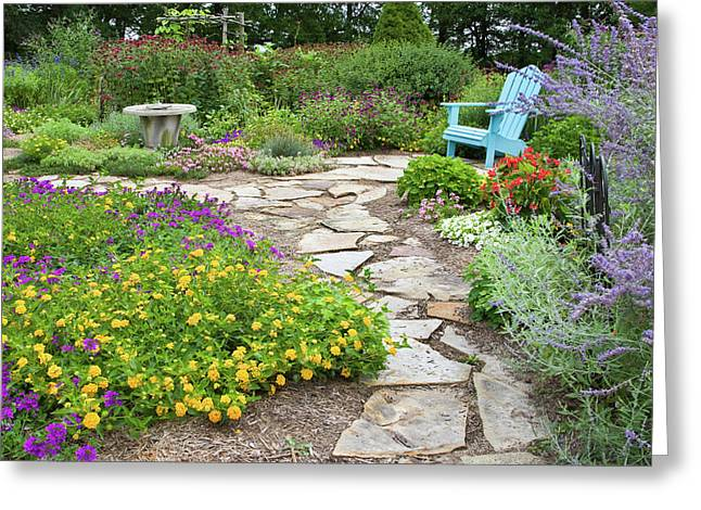 Adirondack Chair And Flowers Greeting Card