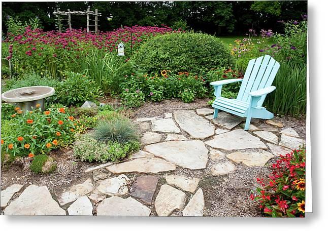 Adirondack Chair, Birdbath Greeting Card