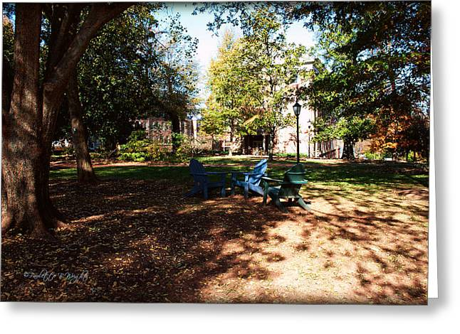 Adirondack Chairs 5 - Davidson College Greeting Card by Paulette B Wright
