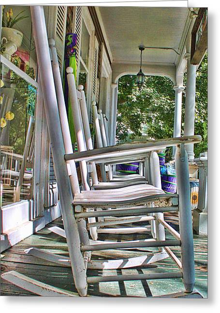 Adirondack Chairs At Skaneateles Ny Greeting Card