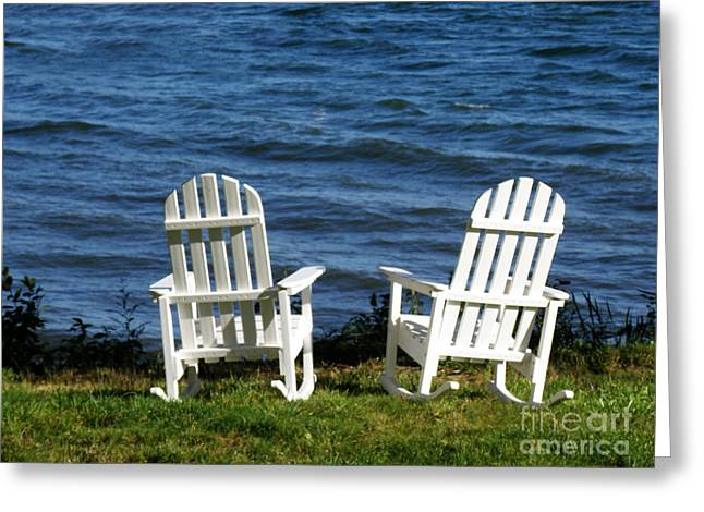 Adirondack Chairs Greeting Card by DejaVu Designs