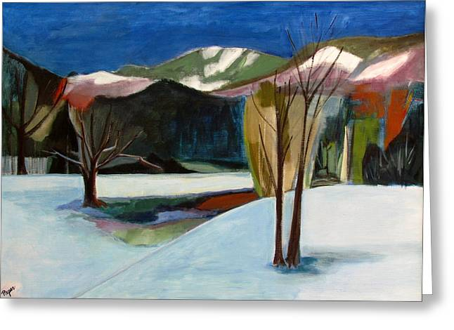 Ski Art Greeting Cards - Adirondacks Greeting Card by Betty Pieper