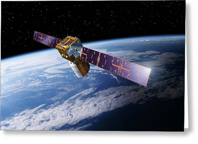 Adm-aeolus Satellite Greeting Card by Esa-p.carril